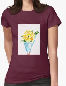 Paper Flowers Watercolour Illustration Womens Fitted T-Shirt