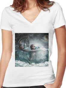 Coming Up For Air Women's Fitted V-Neck T-Shirt