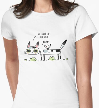Annoyed Cat Womens Fitted T-Shirt