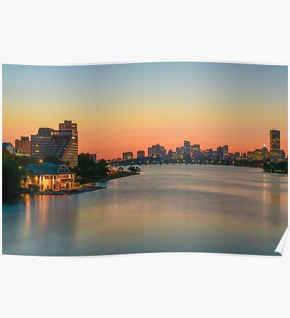The Boston skyline behind the Charles River. Poster