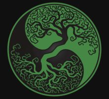 Green and Black Tree of Life Yin Yang Kids Clothes