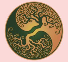 Green and Yellow Tree of Life Yin Yang One Piece - Short Sleeve