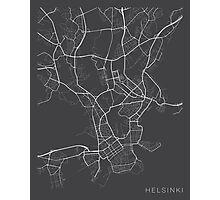 Helsinki Map, Finland - Gray Photographic Print
