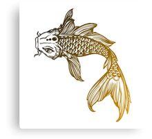 Yellow Coy Fish Sticker Canvas Print