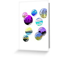 colorful landscape bubbles Greeting Card