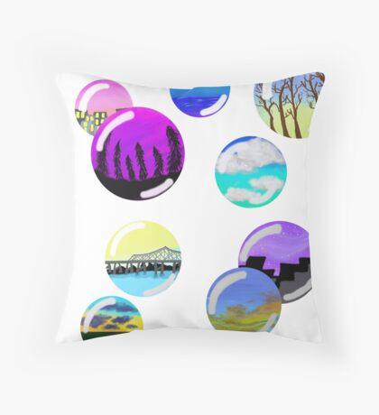 colorful landscape bubbles Throw Pillow