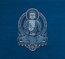 Gautama Buddha Halftone Duvet by GrizzlyGaz