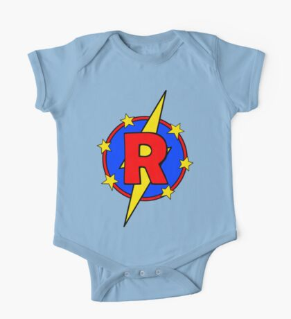 My Cute Little Super Hero - Letter R One Piece - Short Sleeve