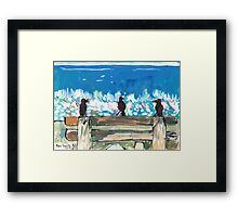 Three Birds Talking on a Bench by the Sea, Colombo Framed Print