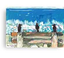 Three Birds Talking on a Bench by the Sea, Colombo Canvas Print