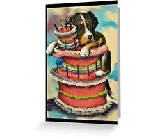 Greater Swiss Mountain Dog~Birthday Cake~Card~Whimsical Greeting Card