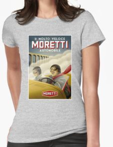 """""""MORETTI AUTO RACES"""" Vintage Grand Prix Print Womens Fitted T-Shirt"""