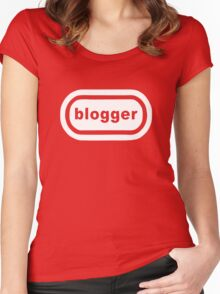 Blogger (white print) Women's Fitted Scoop T-Shirt
