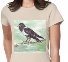 Domino, the Pied Crow (Corvus albus) Womens Fitted T-Shirt