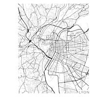 Lyon Map, France - Black and White Photographic Print