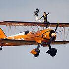 Boeing Stearman Biplane - Wingwalkers  by wjohnd