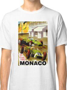 """MONACO"" Vintage Grand Prix Auto Racing Print Classic T-Shirt"