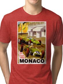 """MONACO"" Vintage Grand Prix Auto Racing Print Tri-blend T-Shirt"
