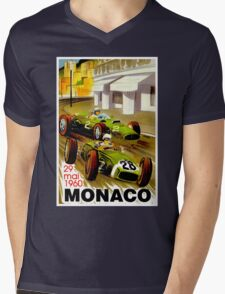 """MONACO"" Vintage Grand Prix Auto Racing Print Mens V-Neck T-Shirt"