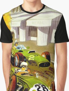 """MONACO"" Vintage Grand Prix Auto Racing Print Graphic T-Shirt"