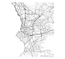 Marseille Map, France - Black and White Photographic Print