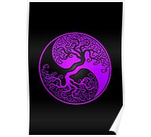 Purple and Black Tree of Life Yin Yang Poster