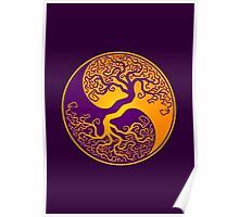 Purple and Yellow Tree of Life Yin Yang Poster