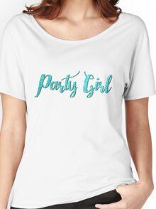 3D Tiffany Aqua Blue Glitter Text Party Girl Women's Relaxed Fit T-Shirt