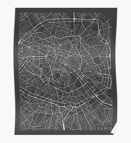 Paris Map, France - Gray Poster