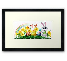Easter Bunny With Eggs Framed Print