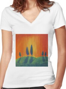 Sunset Hill Women's Fitted V-Neck T-Shirt