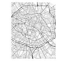 Paris Map, France - Black and White Photographic Print