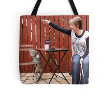 Cat and owner playing Tote Bag