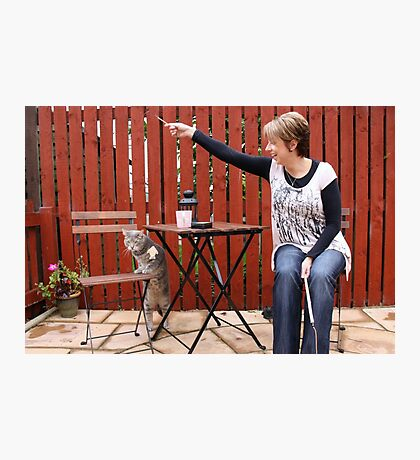 Cat and owner playing Photographic Print