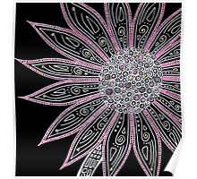 Black White Pink Flower Art Poster