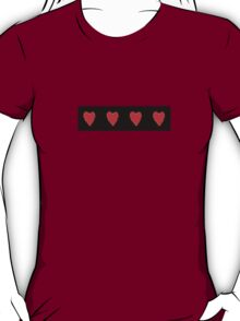 Row of red Hearts on black T-Shirt
