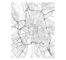 Toulouse Map, France - Black and White Photographic Print