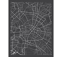 Berlin Map, Germany - Gray Photographic Print