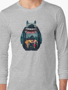 totoro big smile raining Long Sleeve T-Shirt