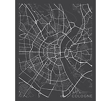 Cologne Map, Germany - Gray Photographic Print