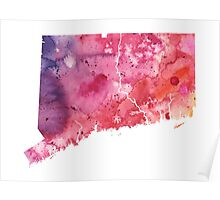 Watercolor Map of Connecticut, USA in Orange, Red and Purple - Giclee Print  Poster