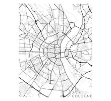 Cologne Map, Germany - Black and White Photographic Print