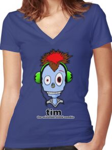Tim...the misunderstood zombie (variation blue) Women's Fitted V-Neck T-Shirt