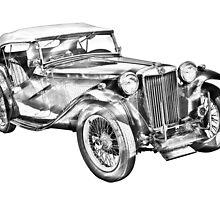 Mg Tc Antique Car Illustration by KWJphotoart