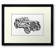 Mg Tc Antique Car Illustration Framed Print