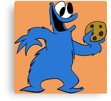 Cookie Monster with cookie Canvas Print