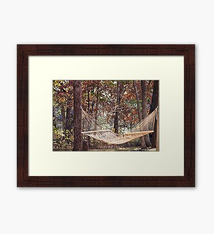 Relaxing in a Hammock during the change of seasons Framed Print