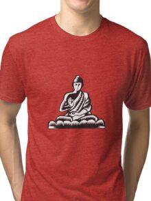 Buddha Lotus Pose Woodcut Tri-blend T-Shirt