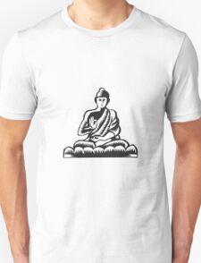 Buddha Lotus Pose Woodcut Unisex T-Shirt
