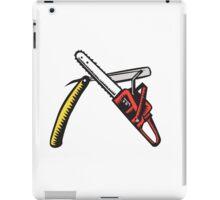 Chainsaw Straight Razor Crossed Woodcut iPad Case/Skin